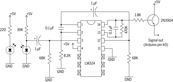 Infrared Pulse Sensor Schematic Physical Chip | Make: DIY