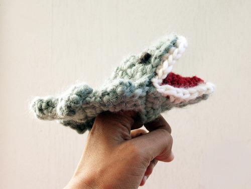 Crocheted Crocodile Finger Puppet