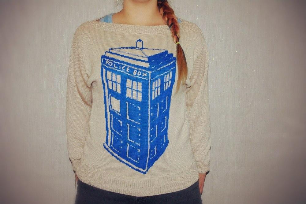 Machine Knit TARDIS Sweater