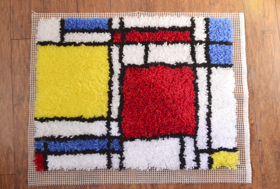 How-To: Latch-Hooked Mondrian Rug
