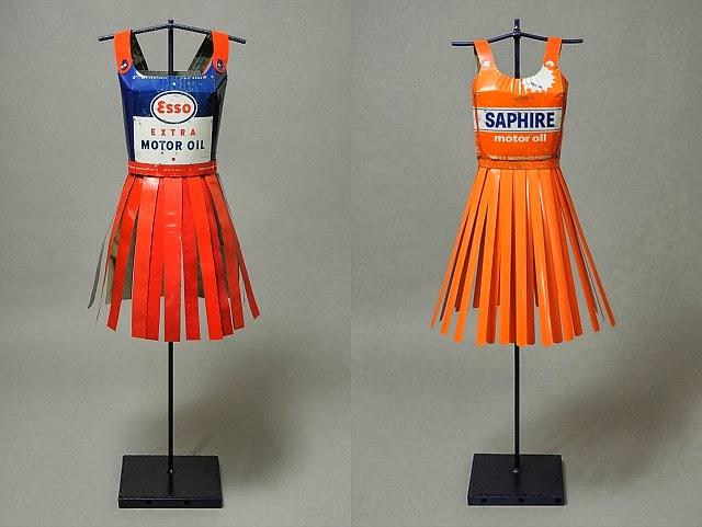 Sculptural Dresses from Vintage Oil Cans