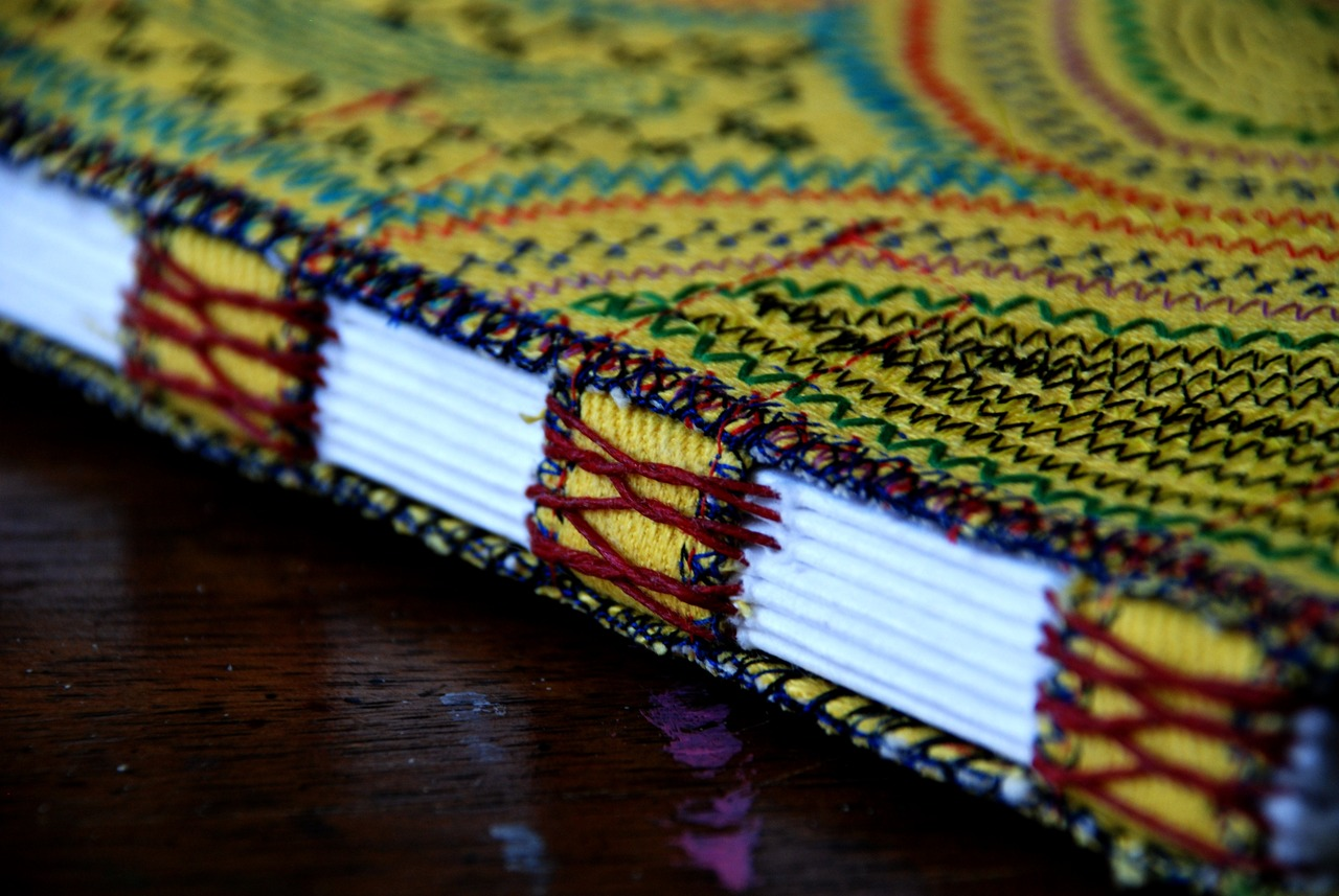 Upcycled Yellow Denim Book with Machine Embroidery
