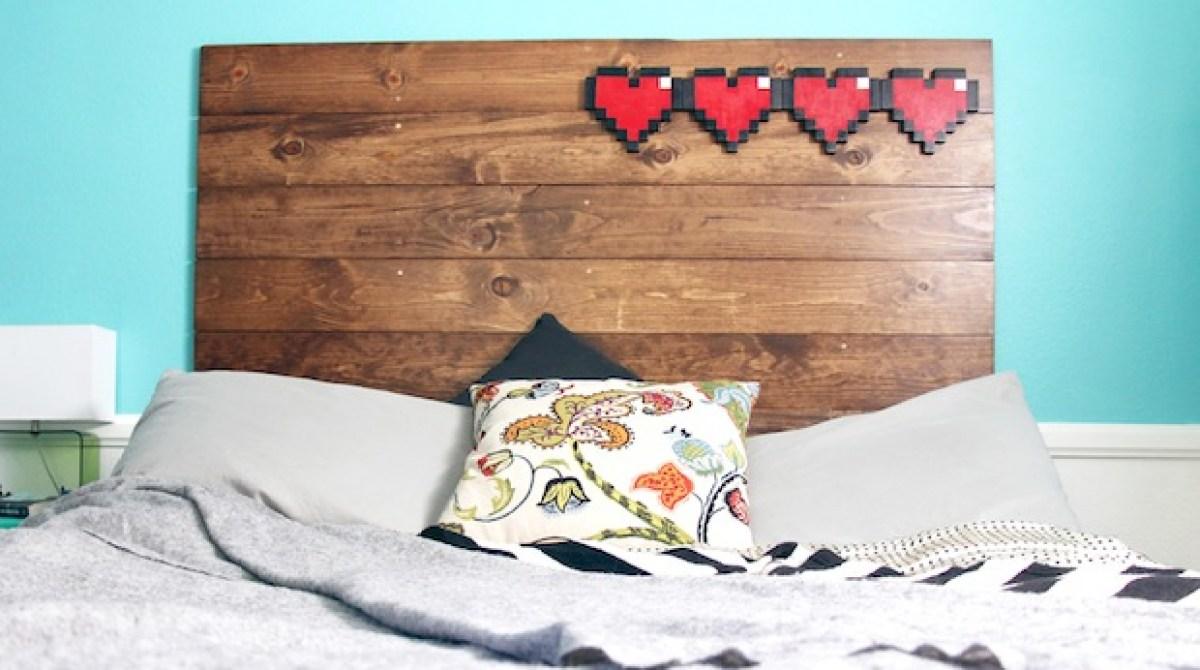 Geek Inspiration: 8-Bit Hearts Headboard