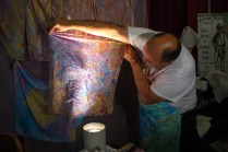 David Nutty creating incredible marbled fabric! Made by taking the transfer of floated and colored dies in a bed of water.