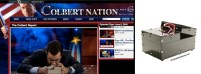 For a simpler build, waste some silly moments in a private, quiet argument with the Ultimate Useless Machine Kit … as seen on TV! Stephen Colbert met and then revisited this hilarious device in his signoff the day Mark appeared. (Image of Colbert Nation webpage from Comedy Central.)