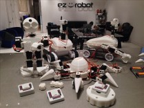 """The Revolution line includes three complete robot platforms. Roli is a tracked rover and probably the easiest to start with. Six is a hexapod walker, a bit more advanced and very cool. JD is a bipedal robot, and is the most challenging. EZ-Robot has developed a range of parts (EZ-Bits) that connect using """"Clip 'n' Play"""" technology. You can buy one of these platforms and customize it, or buy parts a la carte and design your own robot from scratch. Included EZ-Builder software helps you program walking gaits and custom movements. (Pre-orders available now!)"""