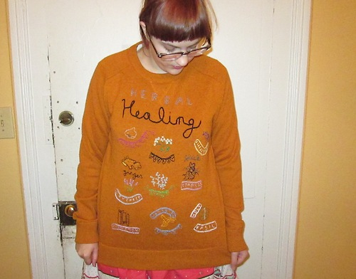 Sweater Embroidered with Medicinal Herbs