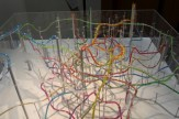 Tokyo's extensive metro and train system recreated in colored water and air bubbles by Takatsugu Kuriyama.