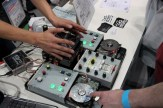 The-Menz is a DJ scratching station using harddrives and other computer parts.