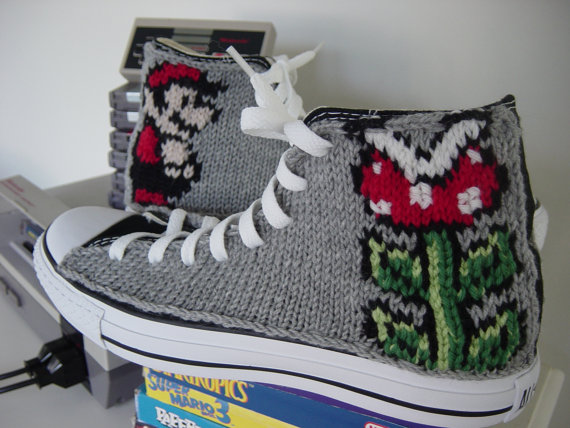 Hand-knit Video Game Sneakers