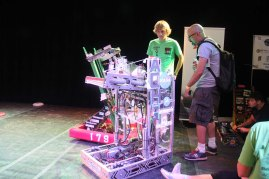 Local FIRST Robotics teams with their super accurate frisbee-shooting robots.