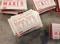 With the [Atlanta Mini Maker Faire](http://makerfaireatl.com/) right around the corner, the Studio was full of lasercut Maker badges.