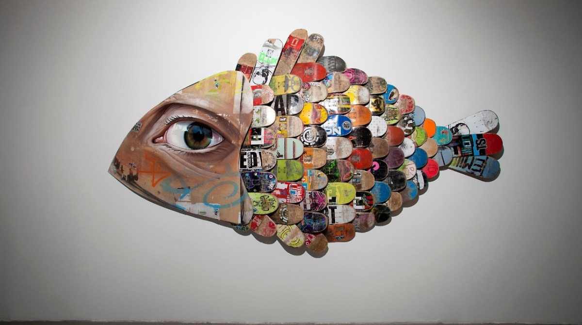 Fish Sculpture from Salvaged Skateboard Decks