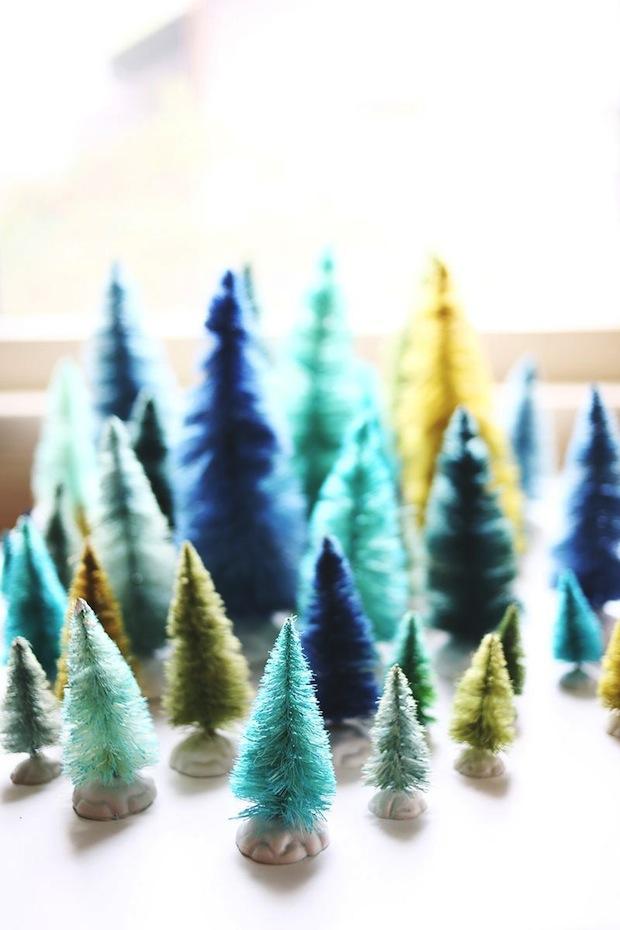 How-To: Bottle Brush Trees in Custom Colors