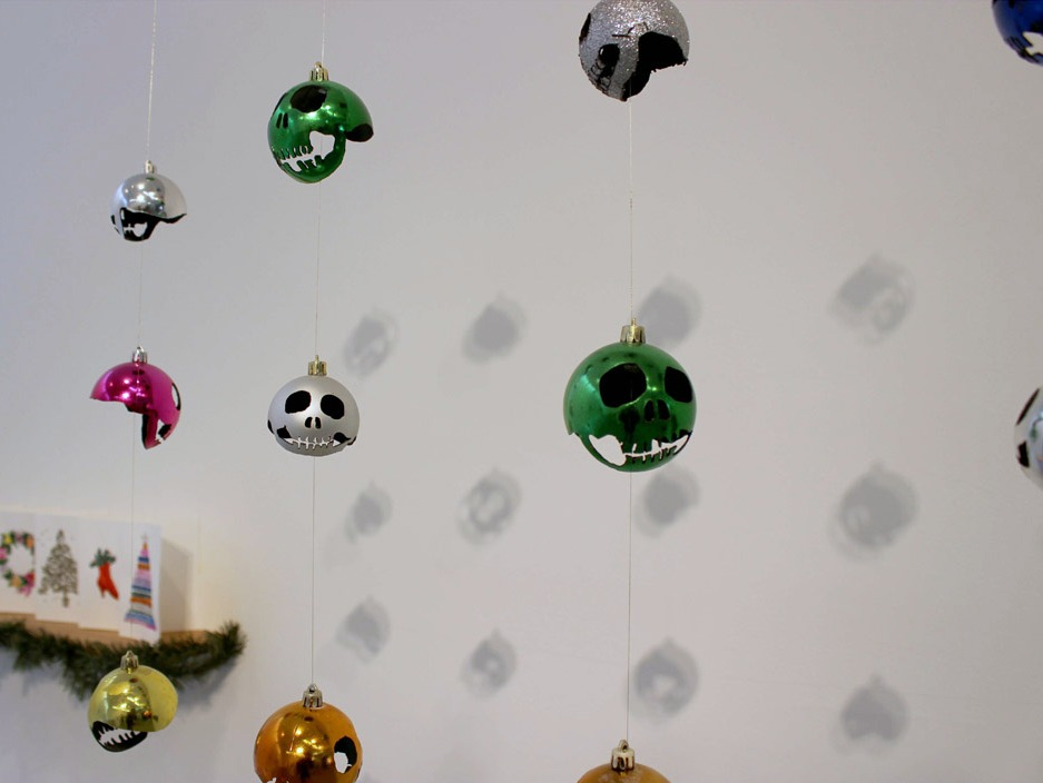 Skulls Carved From Christmas Ornaments