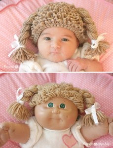 The Cabbage Patch Kids fad might have fizzled out in the 80s, but it was back with a crafty vengeance this year with this inexplicably outstanding crocheted Cabbage Patch Kids doll hat project from Repeat Crafter Me.