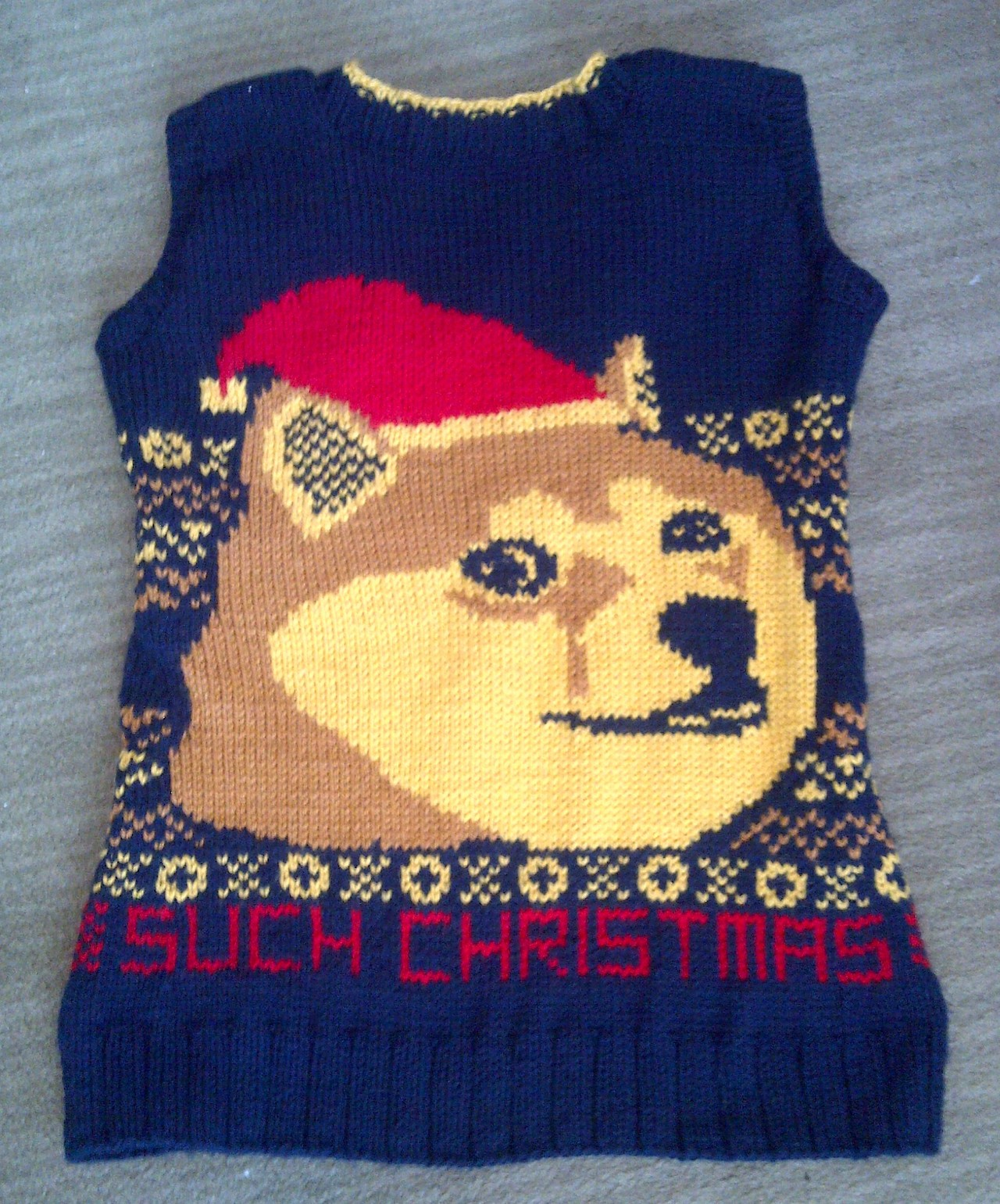 Knitted Doge Christmas Sweater Vest