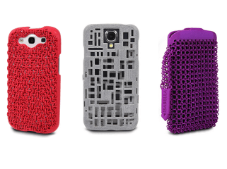 """FreshFiber smartphone cases come in a variety of colors and textures and versions are available for several popular phone brands: HTC One, Galaxy S4, Samsung Galaxy S3, Galaxy Note 2 and of course the iPhone (5c, 5s, and 4s). The """"Maille"""" case (shown in red) and """"Godiva Clutch"""" purse (shown in purple) are inspired by medieval chain mail, reimagined to create a contemporary style statement."""