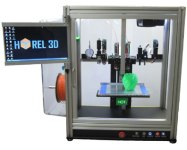 We have been watching Hyrel 3D with great interest these past few months, as they have been steadily enhancing their printers' printing and control capabilities. All of Hyrel 3D's printers work with any of their modular printheads, their latest software allows for simultaneous printing of the same part with up to 4 printheads, and their new fully-enclosed System 30 ($4,000+) features a built-in air filtration system and touch-screen control panel.