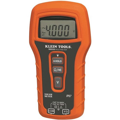 Klein's new multimeter is waterproof, dustproof, and can sustain drops of up to 10 feet, making it practically indestructible. It can measure voltage (AC and DC), continuity, and low resistance. If you need more measurement capabilities, you'll have to spend a lot more than $50. Klein MM50 Multimeter Review (via ToolGuyd)