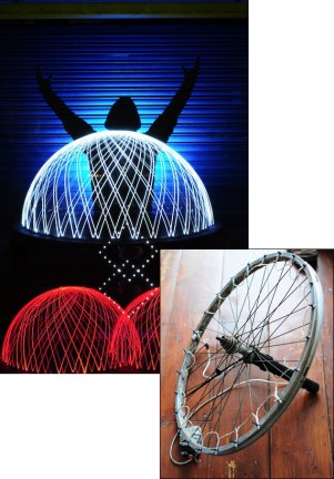 Andrew Whyte's dome-painting rig is built on an old bike wheel with an axle that extending the length of the wheel's radius on one side. Holiday lights are mounted along the rim. To use, just tip it over on the axle, start the exposure, flip the lights on, and give it a spin. The wheel rolls in a circle around the axle, and the lights on its edge trace out a beautiful dome.