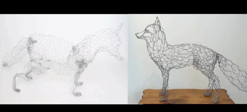 Man Vs. Pin: Wire Fox Sculpture