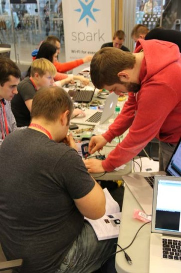 """Jon Gottfried leads attendees at the """"Hack Your House"""" Makerland workshop."""