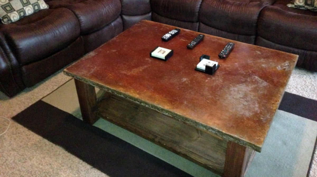 Pouring an Aged, Concrete Coffee Table