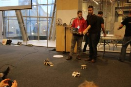 Jon & Swift demonstrate their SumoBot Jr. which flips other robots.