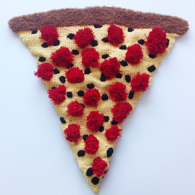 Pepperoni and Olive Pizza Slice Textile Sculpture