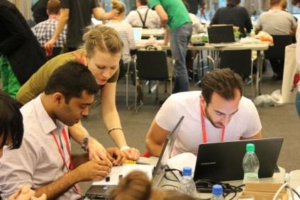 Karolina Chmiel and Antoni Kedracki taught attendees to build a smart watch using a LilyPad microcontroller.