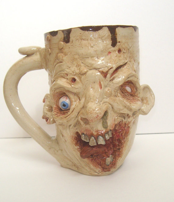 Macabre Mugs by Making Faces Pottery