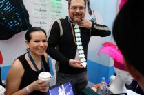 Shannon Hoover of Calgary, Alberta Canada and his wife helped run the Make Fashion booth with the Wearables Lab from Hong Kong Baptist University.