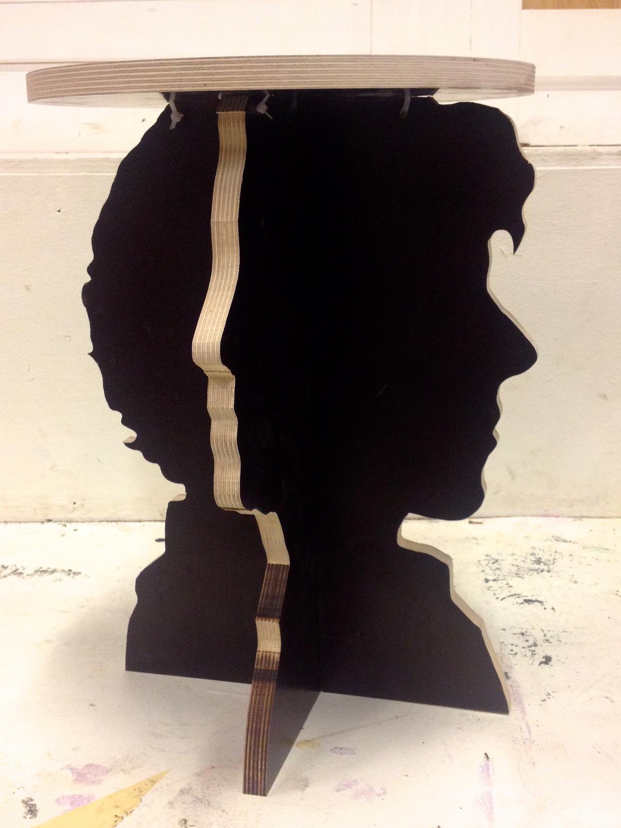 Sherlock And Watson Silhouette Stool