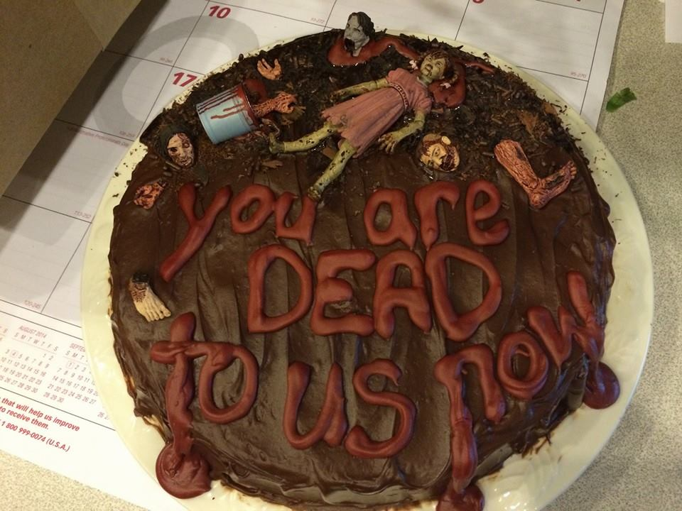 Zombie-Themed Farewell Cake