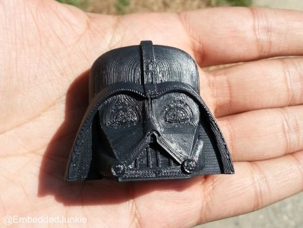 This Darth Vader model was cut in half and printed facing up. The model has no huge undercuts or difficult geometry. There is no compelling reason to have printed this model facing up. The geometry does not require supports. So this could have been printed normally. Other models may require supports if printed upright, so to side step that problem I usually rotate the model to print facing up. The only issues I see is that the deep recesses will be difficult to capture using vacuum forming. We'll touch more on this subject later on.