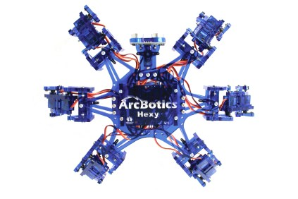makershed.com Arcbotics' Hexy platform balances cost and performance brilliantly, offering functionality otherwise unheard of in hexapods at this price point. The kit includes 20 servos, laser-cut acrylic frame parts, brain board, bluetooth module, battery pack, ultrasonic range sensor, and all the screws, nuts, and other hardware you need to build a working 'bot.