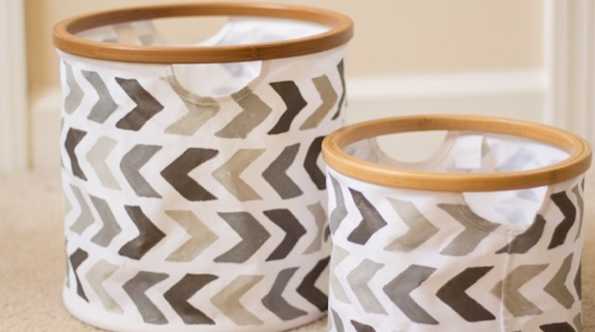 How-To: Stenciled Canvas Baskets