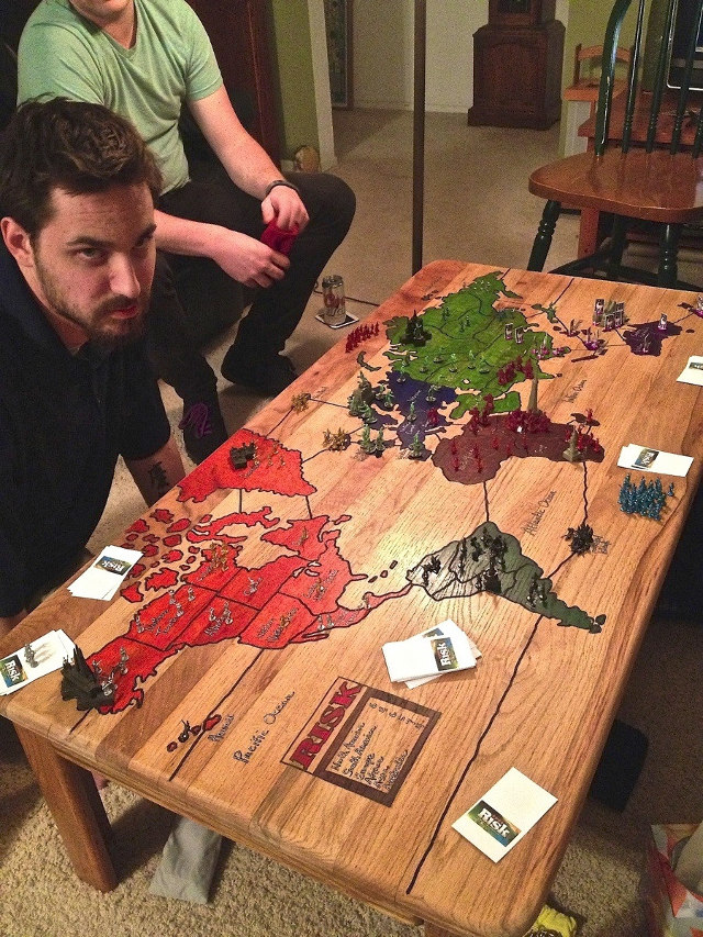 Risk Board Game Carved into a Coffee Table