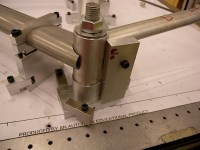 The bottom bracket joint, coming together. I had to do a mockup of the rear wheel, frame, and rear brake to determine the optimum shape for the opening in the down tube for cables to exit. This required several iterative cuts of the down tube's bottom joint.