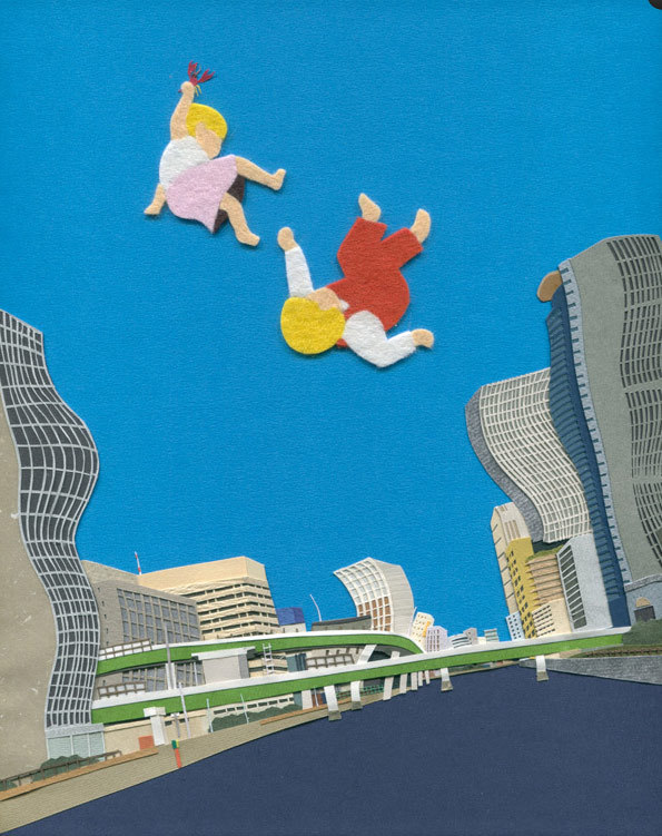 Surreal Illustrations of Children Playing in Felt and Paper Collages