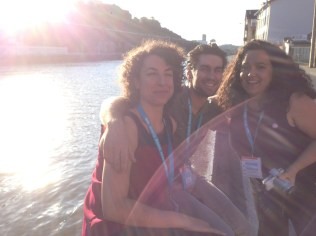 Core crew members Ana, Imanol, Nerea taking a mid-afternoon break on the river, just across the road from the Cookie Factory entrance
