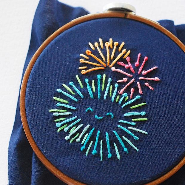 Embroidery Skills: Pistol Stitch Fireworks