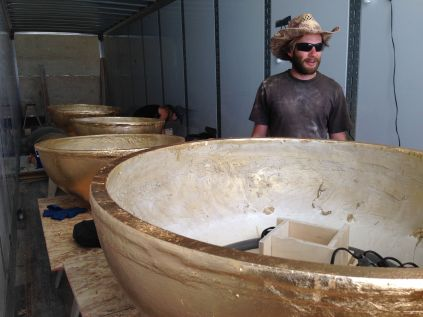Inside the dome workshop box truck—domes were molded and covered in real gold leaf