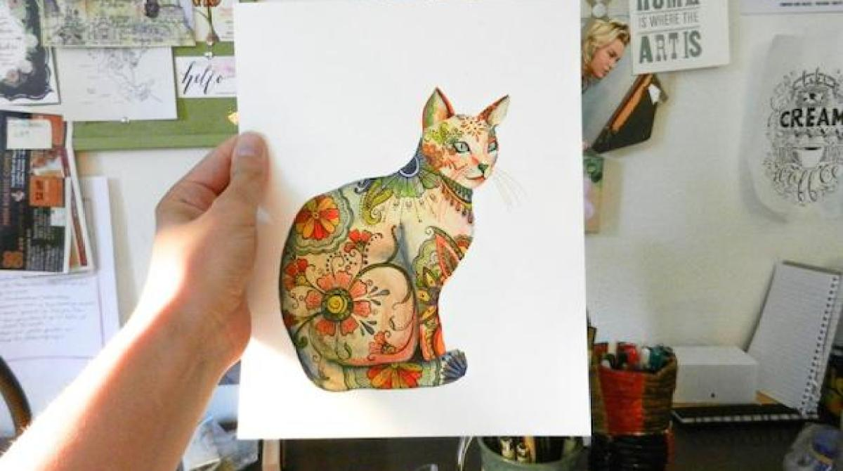 How-To: Watercolor Henna Cat Illustration