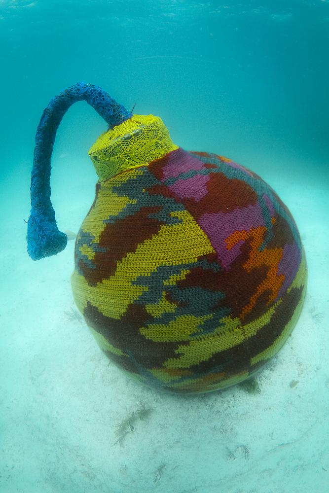 Olek's Underwater Yarn Bomb
