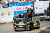 The driver from the Milwaukee Makerspace team maneuvers through the Power Racing Series course.