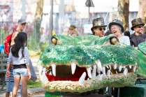 The bicycle-powered Tick Tock the Croc boogied its way through the crowd for two days.