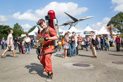 Thomas Lemieux is poised to take off in his Stark Industries Ironman Ghostbuster proton pack.