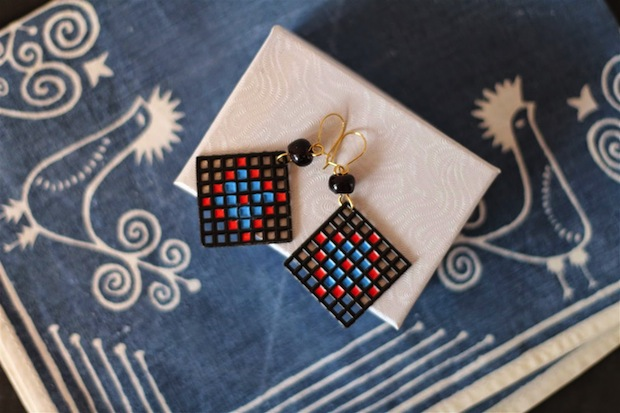 How-To: Plastic Canvas Earrings with Faux Enamel